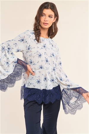 White&Blue Floral Print Relaxed Fit Round Neck Long Bell Sleeve Lace Hem Detail Blouse /1-2-2-1