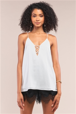 White Sleeveless V-Neck Side Cris Cross Cut-Out Loose Fit Top