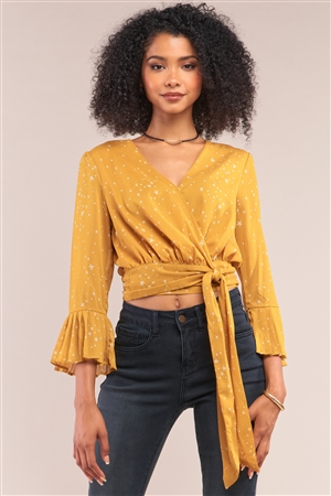 Keep Stargazing Mustard Yellow Star Print Wrap Self-Tie Open Front Flare Hem Midi Sleeve Cropped Top /1-2-2-1
