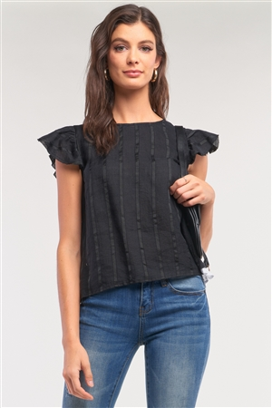 Black Striped Short Wing Sleeve Crew Neck Contrast Back Lining Lace Up Top /1-2-2