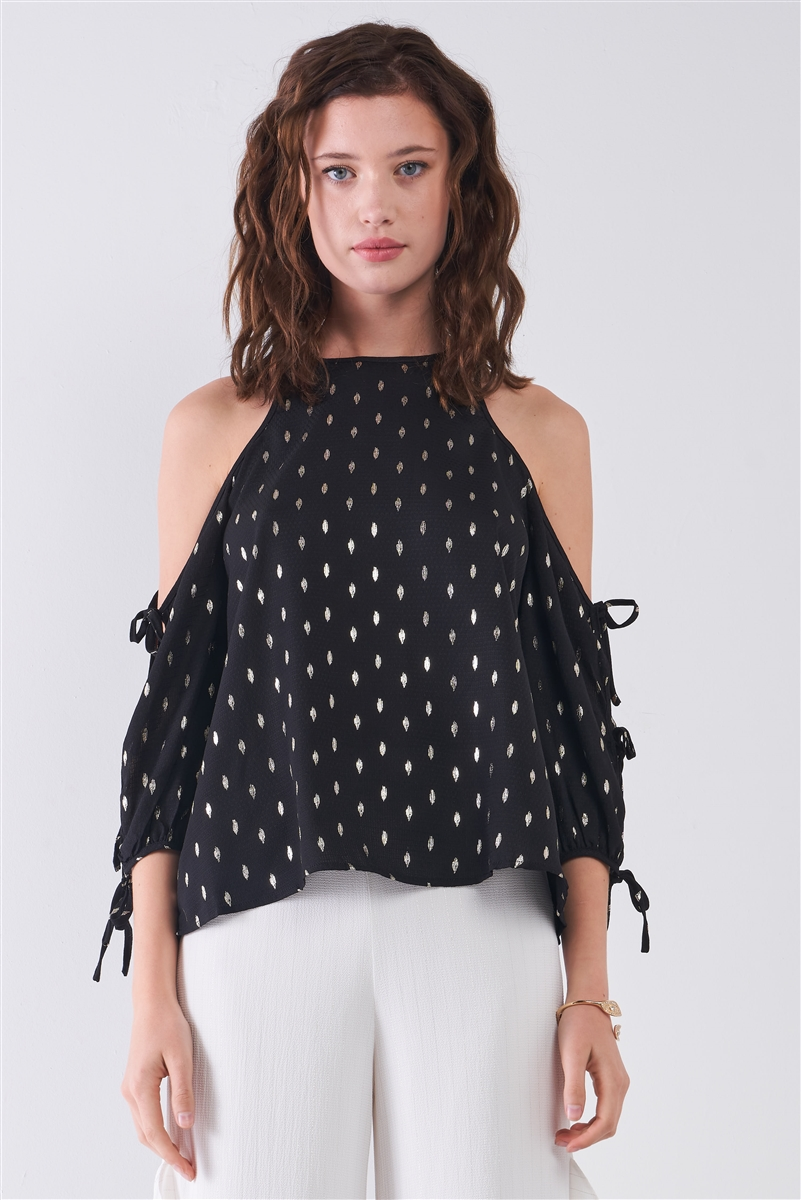 Black & Gold Print Cold Shoulder Detail Round Neck Self-Tie Balloon Sleeve Relaxed Top /3-3