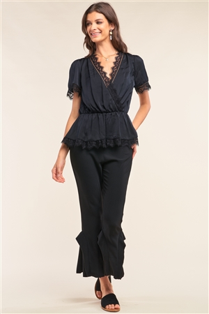 Black Satin Wrap Deep Plunge V-Neck Lace Hem Detail Flare Top /2-2