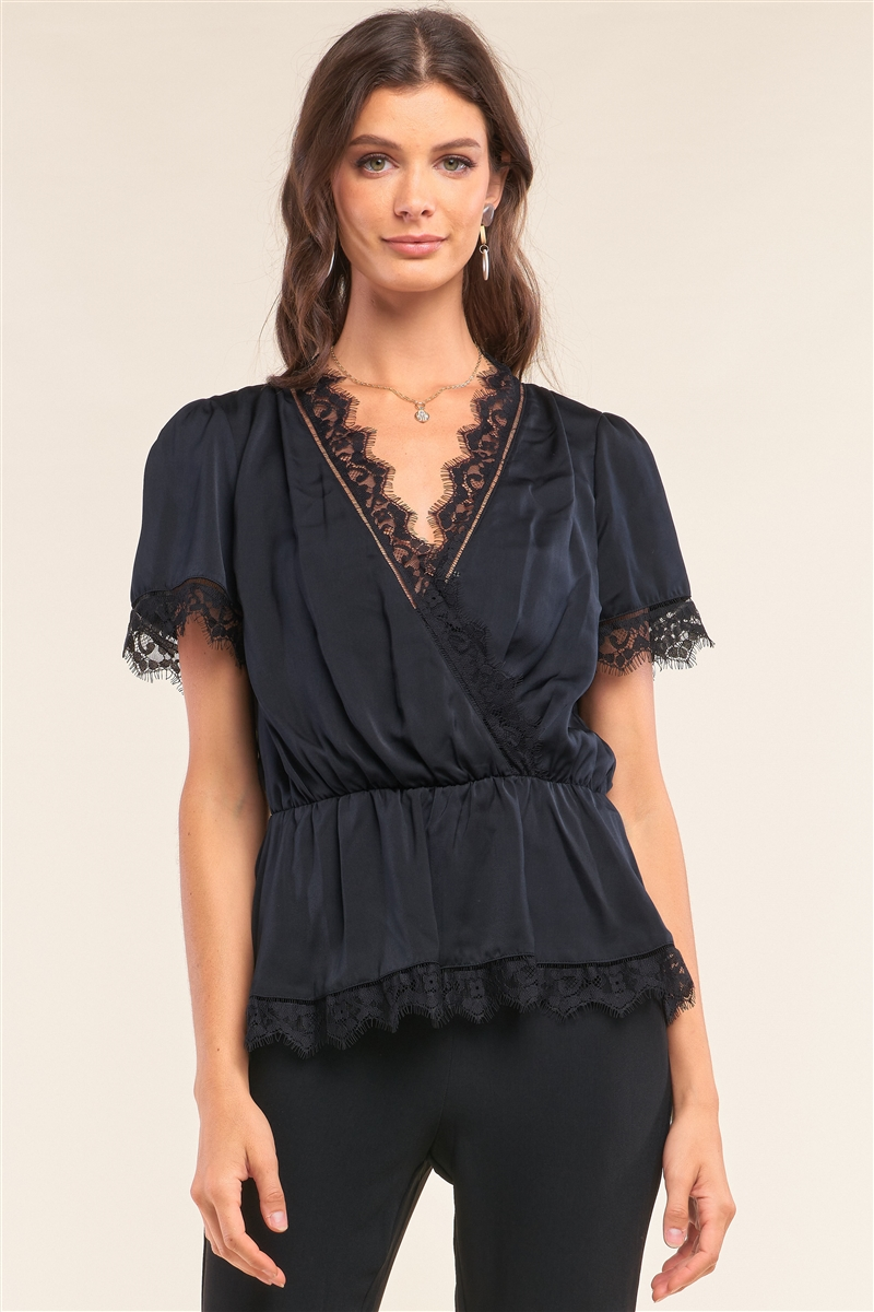Black Satin Wrap Deep Plunge V-Neck Lace Hem Detail Flare Top /1-2-2-1