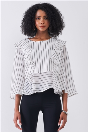 White & Black Pinstriped Ruffle Trim Angel Sleeve Detail Relaxed Blouse /1-2-1