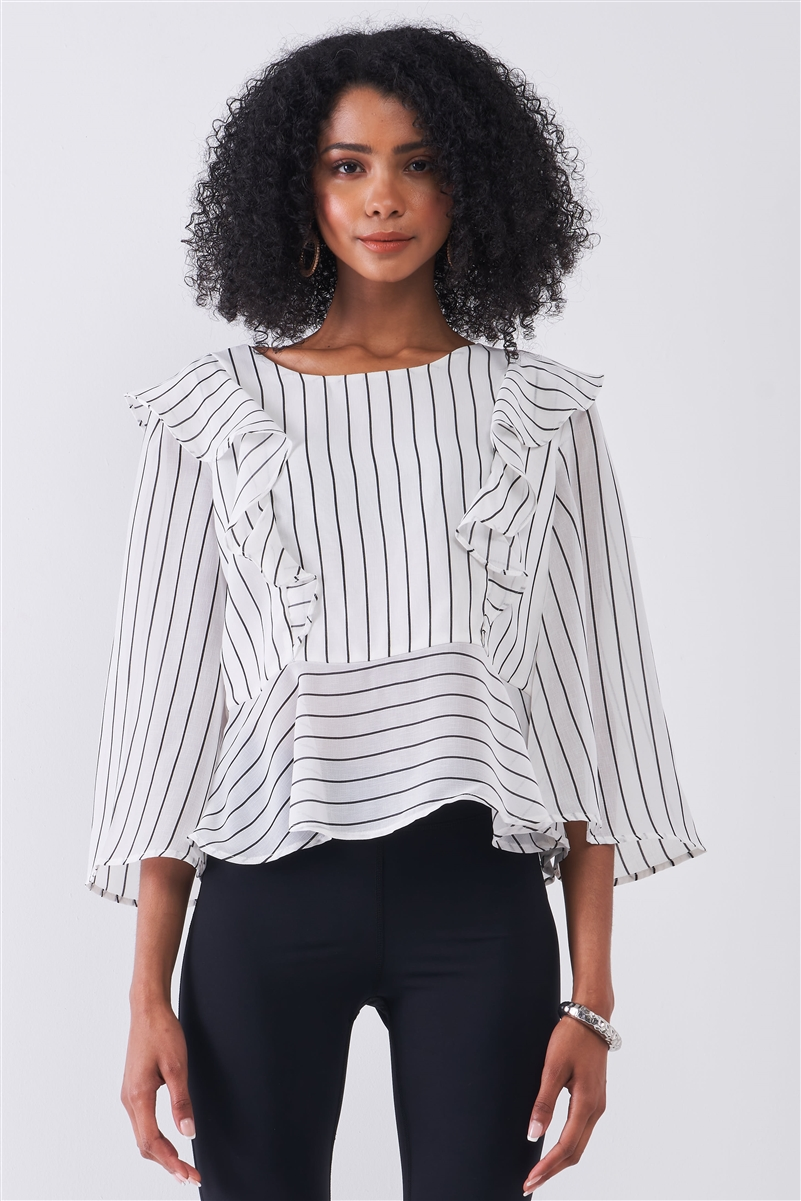 White & Black Pinstriped Ruffle Trim Angel Sleeve Detail Relaxed Blouse /1-2-2-1