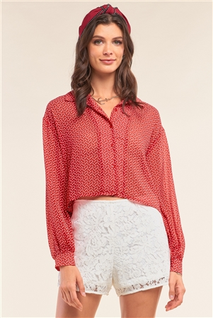 Red Retro Chic Heart Print Relaxed Fit Long Sleeve Criss-Cross Tie Up Detail Button Up Cropped Shirt /1-2-2-1