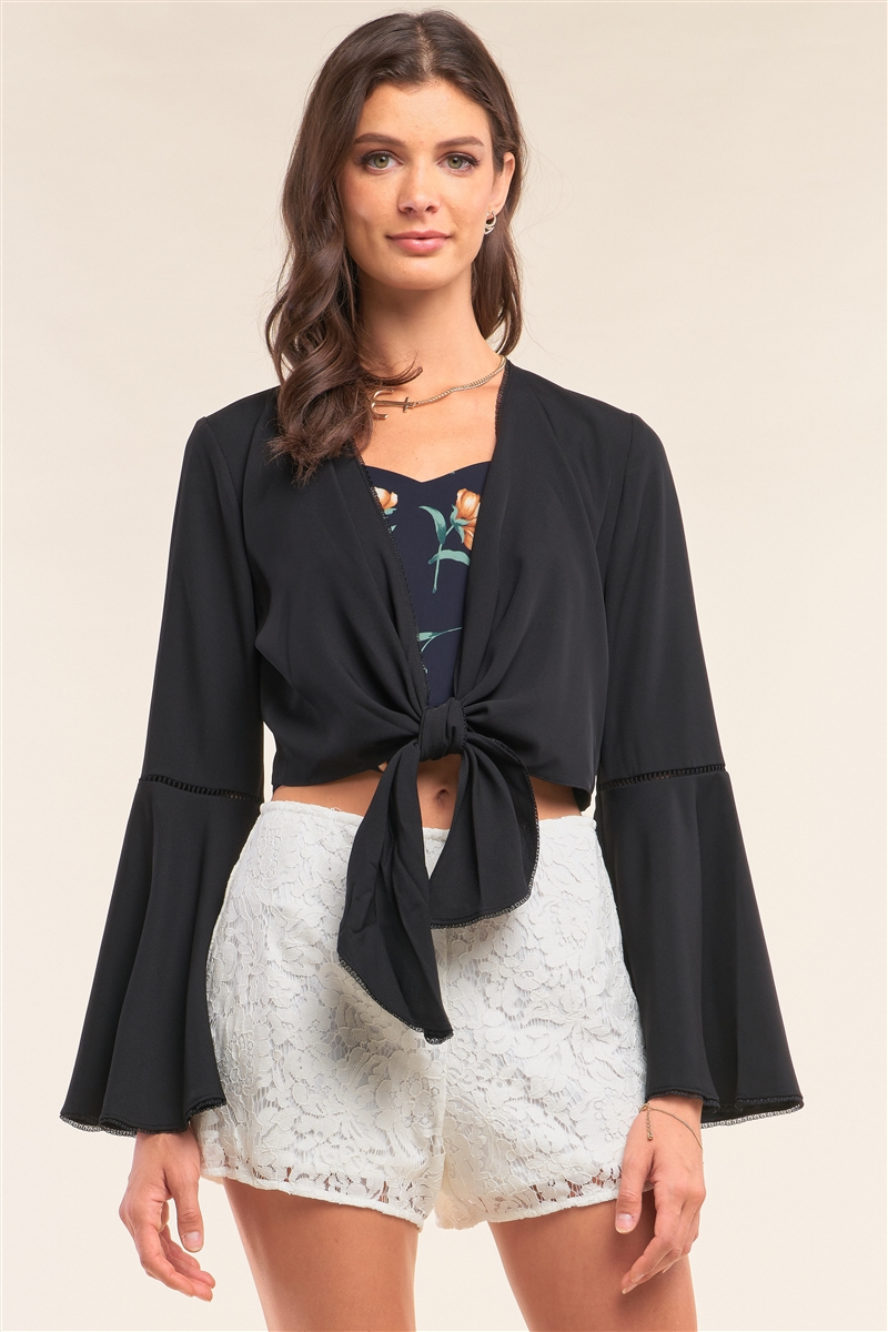 Black Self-Tie Front Long Angel Sleeve Cropped Top