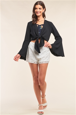 Black Self-Tie Front Long Angel Sleeve Cropped Top /2-3-1