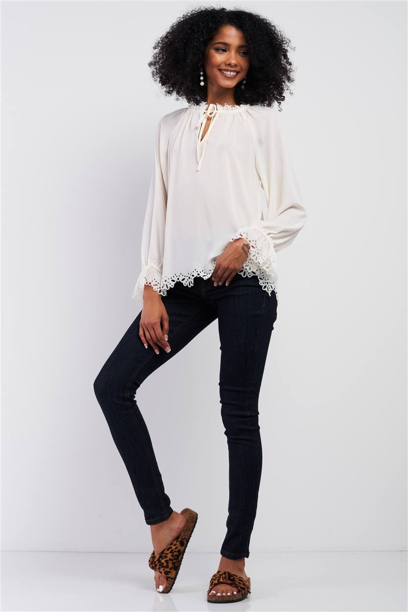 Cream Long Balloon Sleeve Loose Fit Front Draw String Tie Laser Cut Out Flounce Top /2-1-1