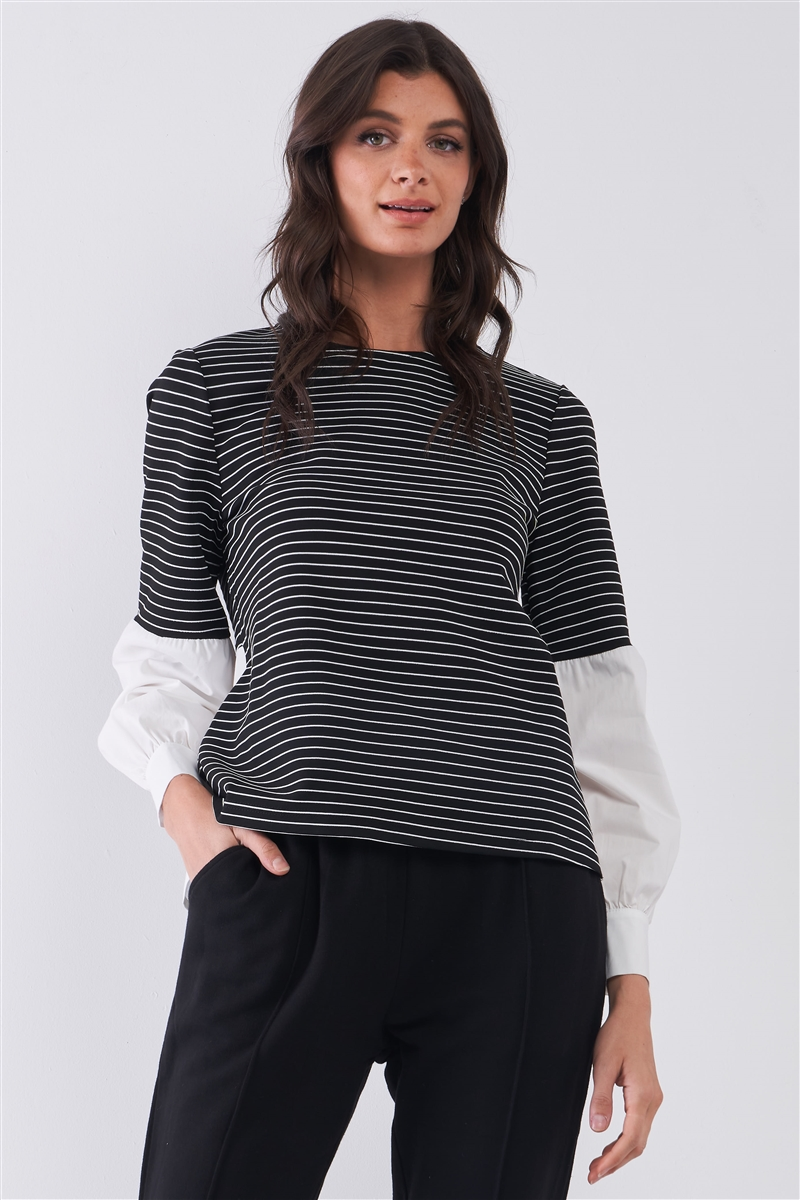 Black & White 2 in 1 Striped High Neck Long Balloon Sleeve Top /1-2-2-1