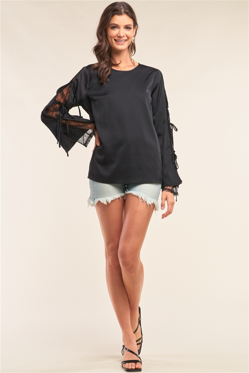 Black Satin Crew Neck Relaxed Fit Lace Mesh Trim Self-Tie Long Sleeve Detail Top /2-2