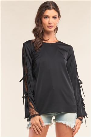 Black Satin Crew Neck Relaxed Fit Lace Mesh Trim Self-Tie Long Sleeve Detail Top /1-2-2-1