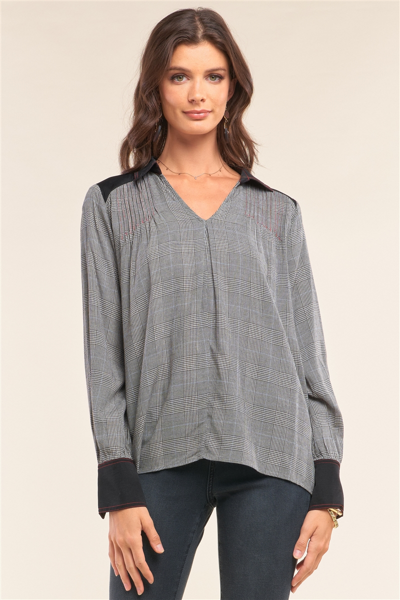 Black Checkered Pleated Shoulder Satin Cut-Ins Red Stitching Detail Long Sleeve V-Neck Relaxed Fit Blouse /1-2-2-1