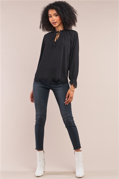 Black Long Balloon Sleeve Loose Fit Front Draw String Tie Laser Cut Out Flounce Top