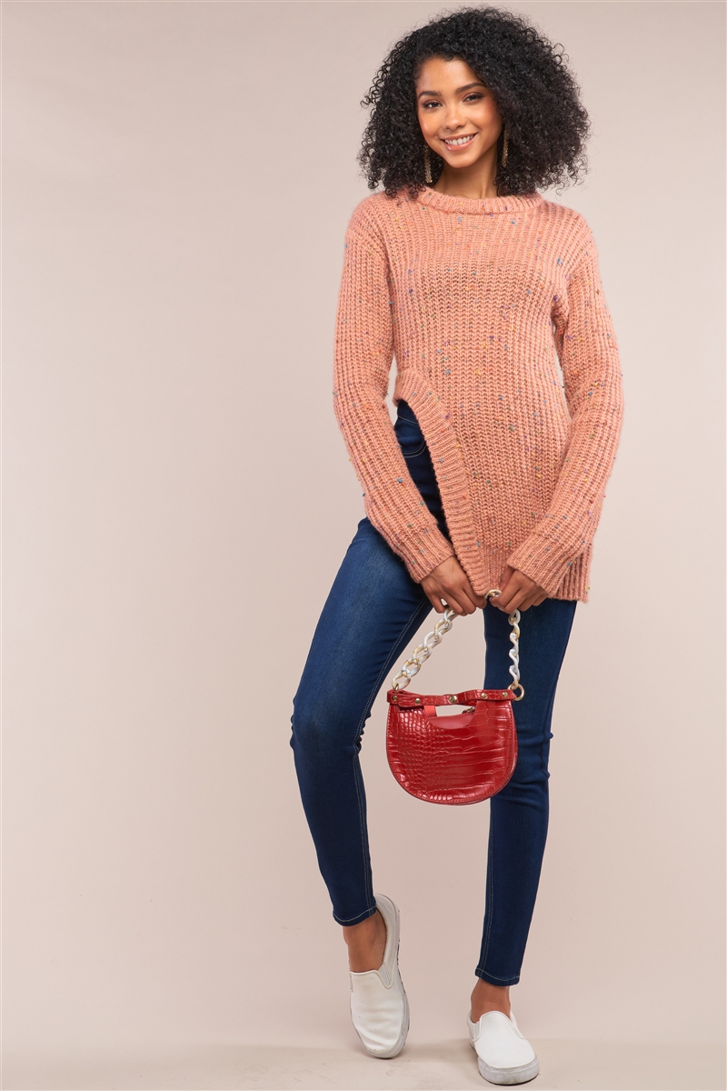 Salmon Long Sleeve Asymmetrical Hem Sweater