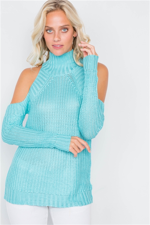 Aqua Cold Shoulder Knit Turtleneck Sweater