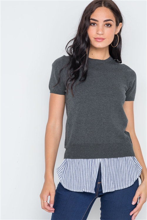 Charcoal Short Puff Sleeve Combo Stripe Sweater /4-2
