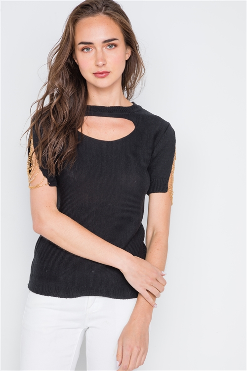 Black Chain Sleeves Cut Out Knit Top