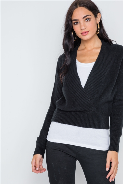 Black Knit Deep V-Neck Surplice Long Sleeve Sweater