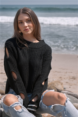 Cozy Days Black Round Neck Long Cut-Out Detail Sleeve Cable Knit Cropped Sweater