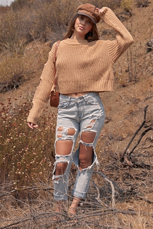 Pumpkin Spice Caramel Round Neck Long Cut-Out Detail Sleeve Cable Knit Cropped Sweater