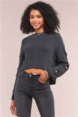Charcoal Round Neck Long Cut-Out Detail Sleeve Cable Knit Cropped Sweater /4-2