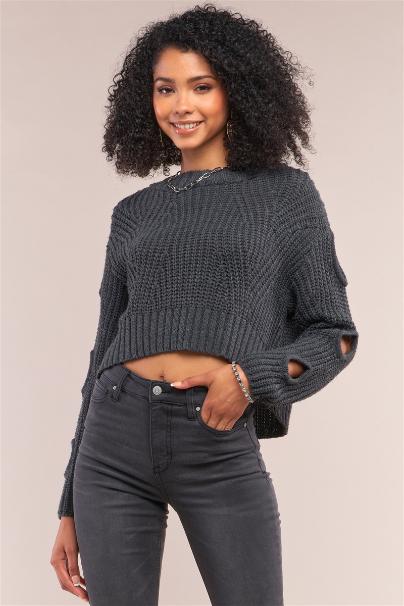 Charcoal Round Neck Long Cut-Out Detail Sleeve Cable Knit Cropped Sweater