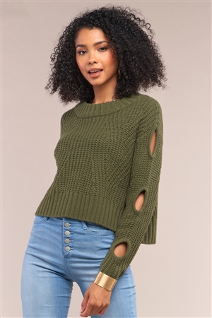 Olive Round Neck Long Cut-Out Detail Sleeve Cable Knit Cropped Sweater /4-2
