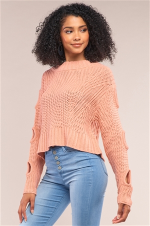 Salmon Round Neck Long Cut-Out Detail Sleeve Cable Knit Cropped Sweater