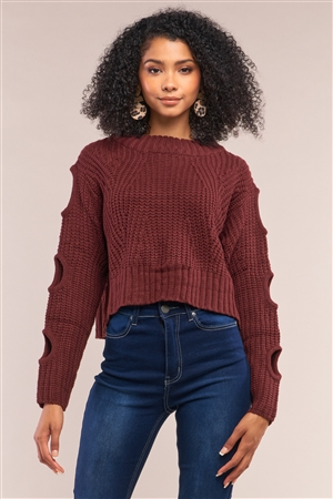 Wine Round Neck Long Cut-Out Detail Sleeve Cable Knit Cropped Sweater