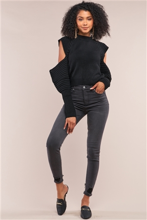 Black Knit Ribbed Neck Long Pleated Sleeve Cut-Out Detail Cropped Sweater