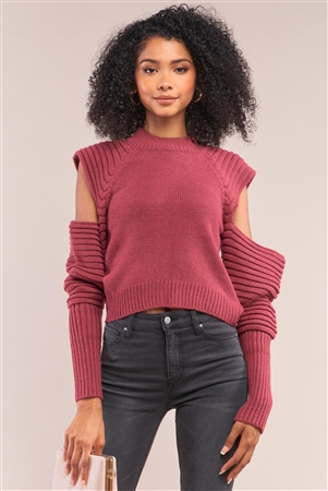 Cranberry Red Knit Ribbed Neck Long Pleated Sleeve Cut-Out Detail Cropped Sweater /4-2