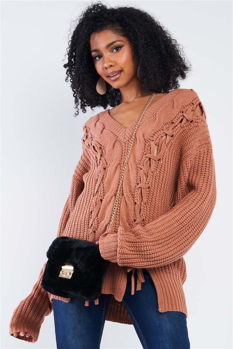 Dark Salmon Red Cable Knit Draw String Self Tie V-Neck Long Sleeve Oversized Sweater /4-2
