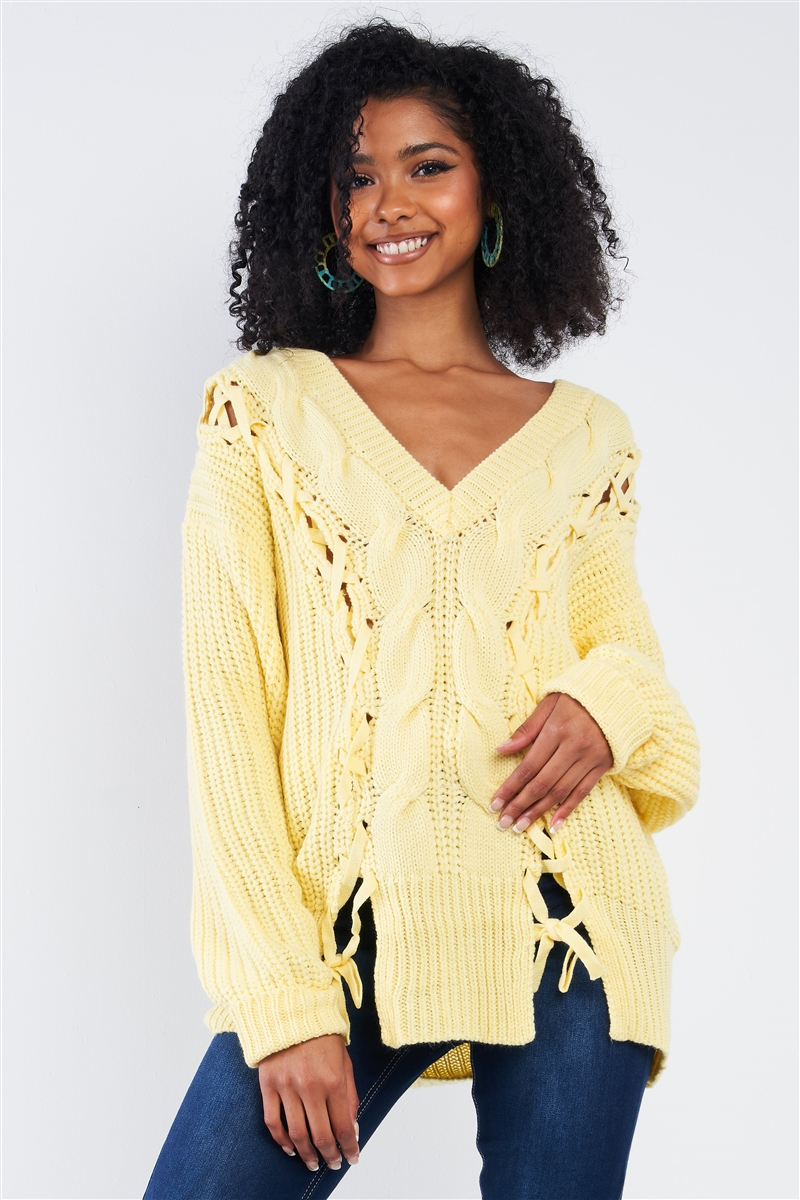 Light Yellow Cable Knit Draw String Self Tie V-Neck Long Sleeve Oversized Sweater
