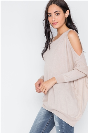 Almond Asymmetrical Hem Seamed Sweater