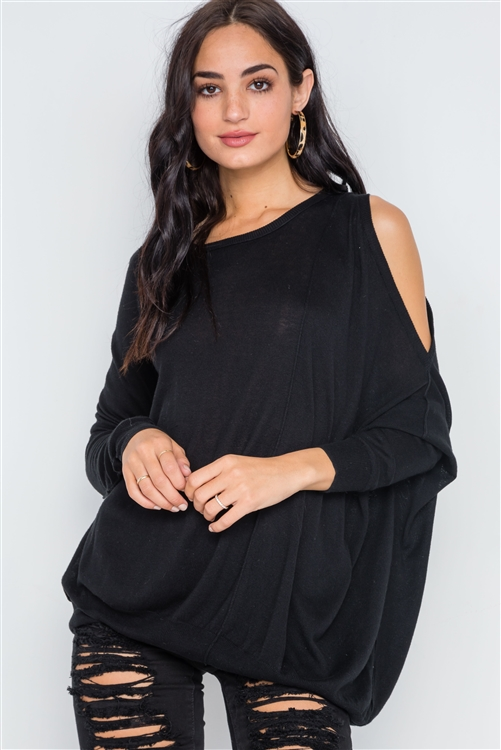 Black Asymmetrical Hem Seamed Sweater
