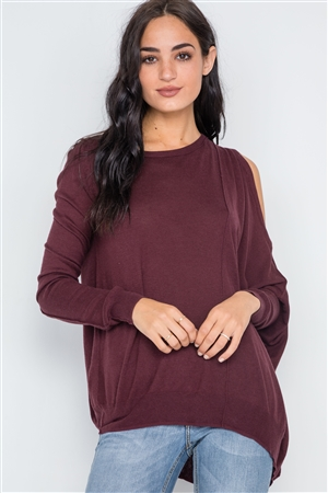 Bloody Cooper Asymmetrical Hem Seamed Sweater