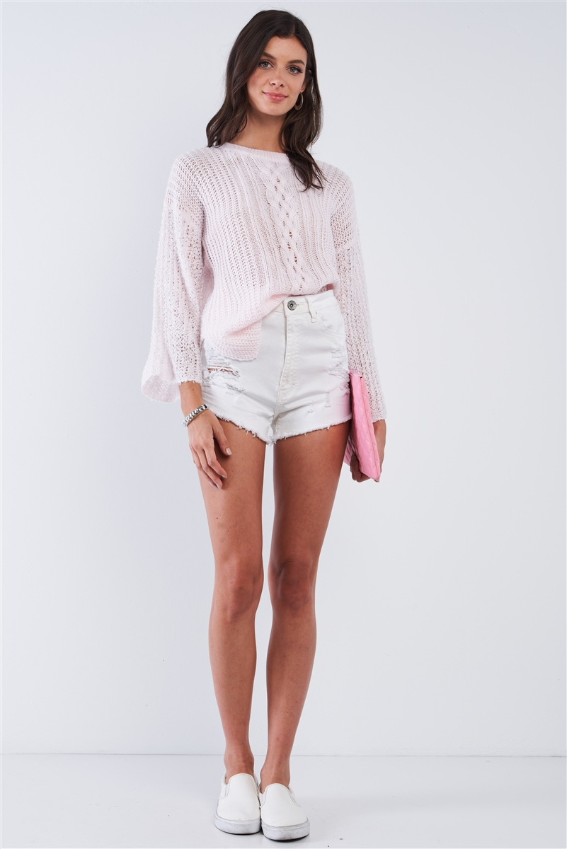 Baby Pink Cable Knit Relaxed Fit Ribbed Round Neckline Long Sleeve Side Slit Detail Sweater /2-3