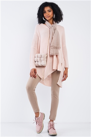 Baby Soft Pink V-Neck Asymmetrical Oversized Long Sleeve Gold Zipper