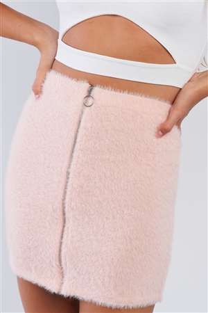 Fuzzy Cotton Candy Pink Zipper Mini Skirt