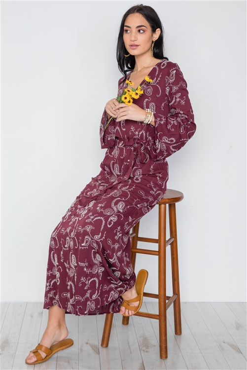 Burgundy Long Sleeve V-Neckline Floral Embroidery Boho Dress /2-2-2