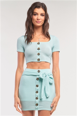 Mint Ribbed Scoop Neck Button Down Crop & Mock Wrap Mini Skirt Set