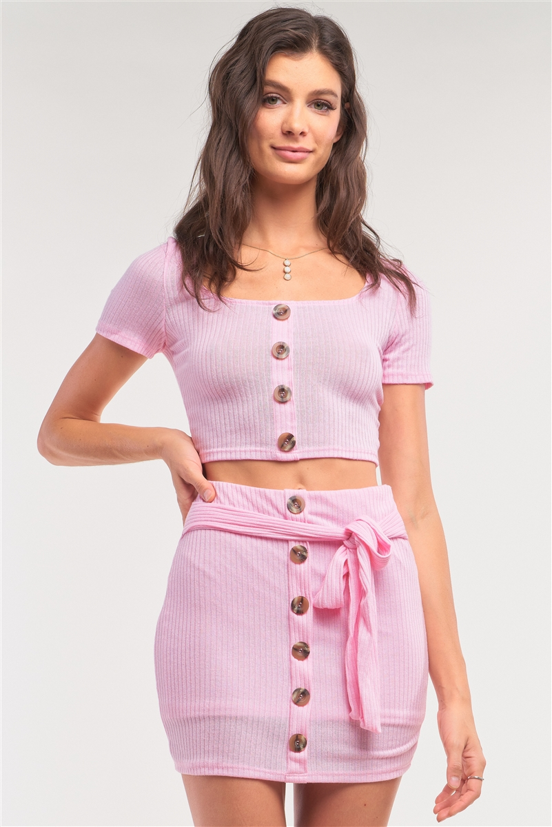 Pink Ribbed Scoop Neck Button Down Crop & Mock Wrap Mini Skirt Set