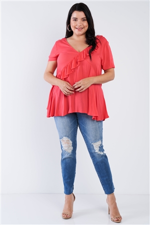 Plus Size Coral Pink V-Neck Diagonal Ruffle Trim Short Sleeve Top