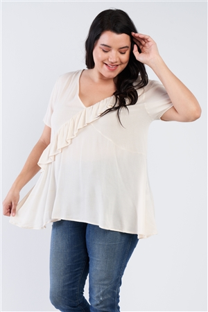 Plus Size Ivory White V-Neck Diagonal Ruffle Trim Short Sleeve Top