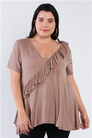 Plus Size Mocha Brown V-Neck Diagonal Ruffle Trim Short Sleeve Top