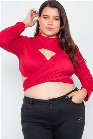 Plus Size Red Suede Wrap Turtleneck Crop-Top