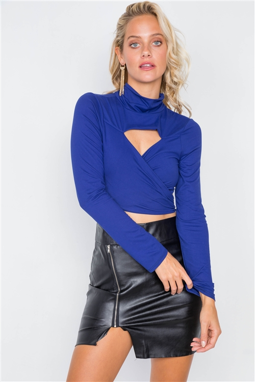 Royal Blue Suede Wrap Turtleneck Crop-Top