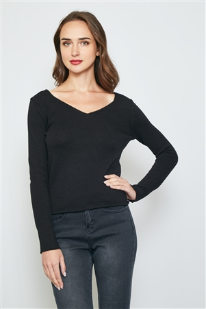 Black Back Cut Out Sweater