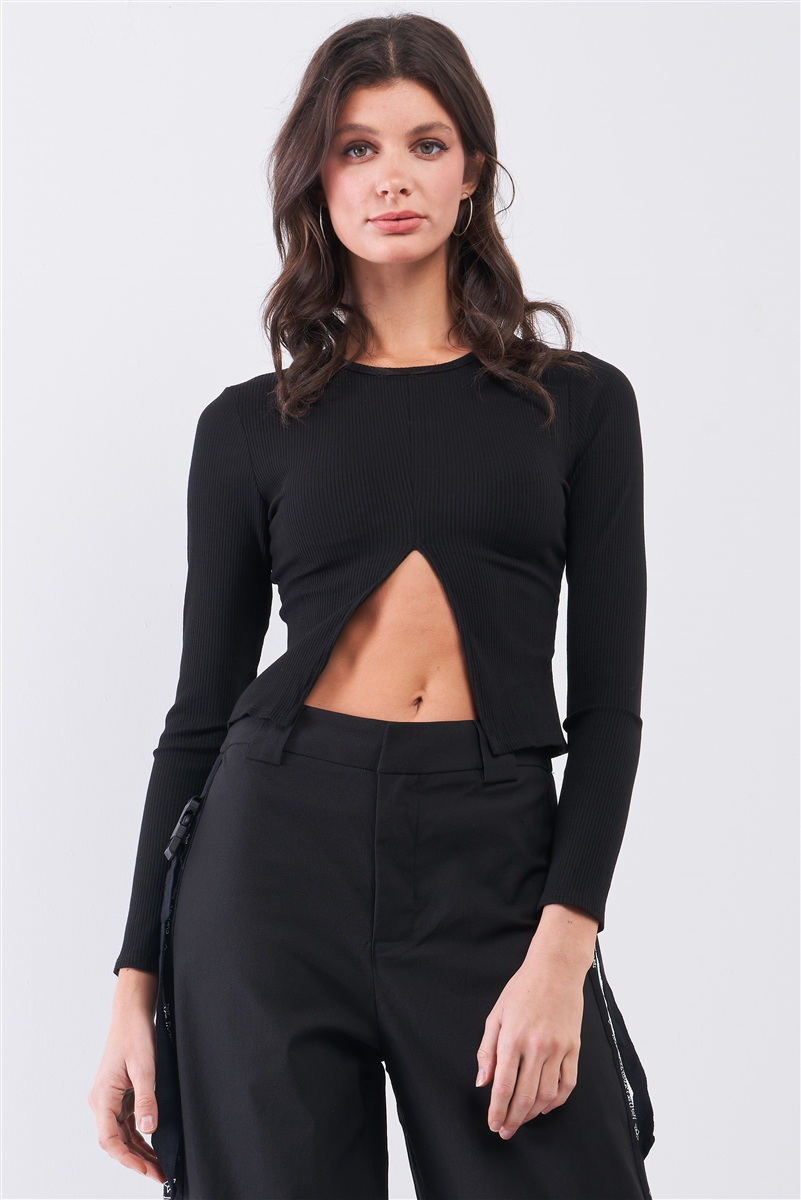 Black Ribbed Long Sleeve Front Belly Button Slit Detail Top /2-2-2